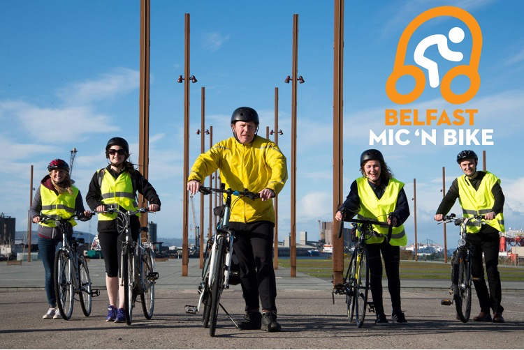 Belfast Mic n Bike tour guide with Tourtalk system