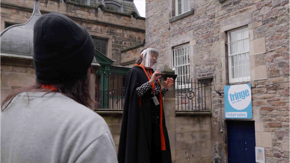 Tour guide social distancing on a historic city tour