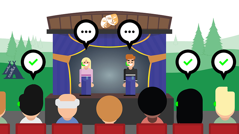Tourtalk system outdoor theatre hearing support example